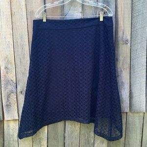 Cato blue lacy asymmetrical type skirt size 12